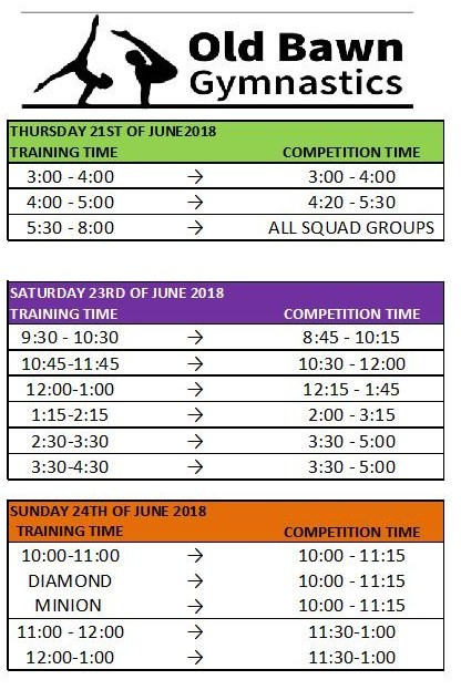 Summer competition 2018 schedule 2